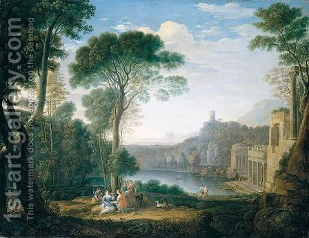 A Classical Landscape With The Nymph Egeria Mourning For Numa by (after) Hendrik Frans Van Lint (Studio Lo) - Reproduction Oil Painting