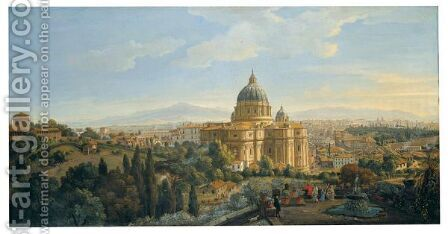 Rome, A View Of The Apse Of Saint Peter's Basilica Looking East by Caspar Andriaans Van Wittel - Reproduction Oil Painting