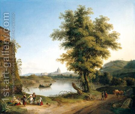 Rome, A Distant View Of Saint Peter's Basilica And The Vatican Seen From North Of The City On The West Bank Of The Tiber, Next To The Milvian Bridge by Jakob Philippe Hackert - Reproduction Oil Painting