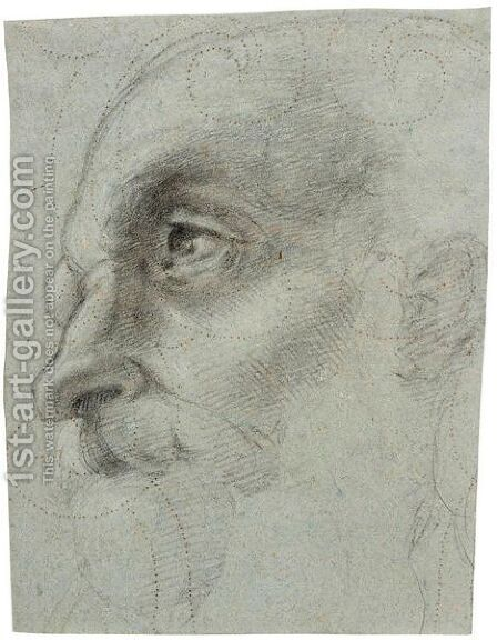 The Head Of An Old Man In Profile by (after) Giulio Romano (Orbetto) - Reproduction Oil Painting