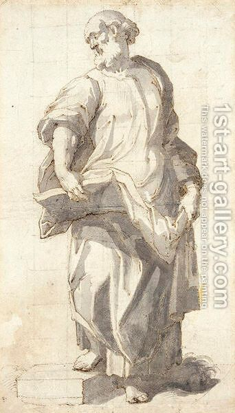 Study Of An Evangelist, Standing With An Open Book Supported On His Right Knee by Giovanni Battista (Il Malosso) Trotti - Reproduction Oil Painting