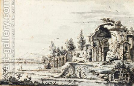 Landscape With Classical Ruins By A Lake, A Woman And Child In The Foreground by Giuseppe Zais - Reproduction Oil Painting