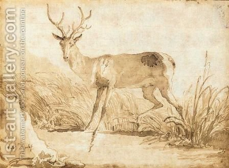 A Stag By A Riverbank by Giovanni Domenico Tiepolo - Reproduction Oil Painting