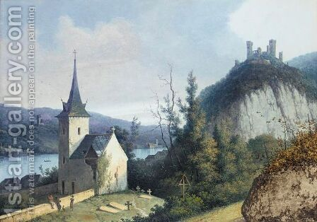 A Rhine View With A Church And A Ruined Castle On A Hill (Possibly Oberwesel) by Henri Knip - Reproduction Oil Painting