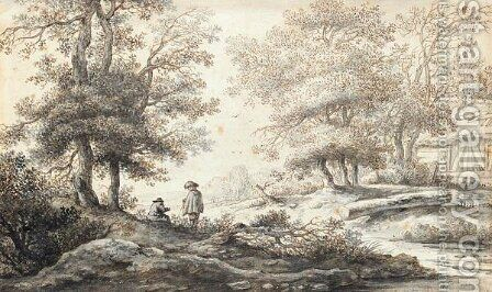 Wooded Landscape With Two Figures Resting By A Stream by Aernout Ter Himpel - Reproduction Oil Painting