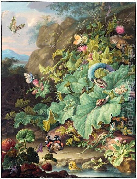 Thistles, Daisies And Mushrooms By A Pond With A Snake, A Lizard, A Frog And Various Insects by Herman Henstenburgh - Reproduction Oil Painting
