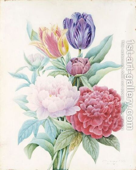 A Bouquet Of Peonies And Tulips by Comtesse D'aubigny D'afoy - Reproduction Oil Painting