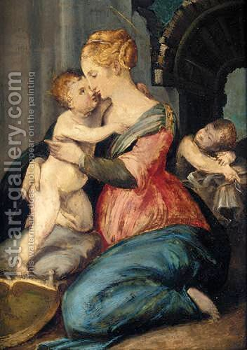 The Madonna And Child With Saint John The Baptist by (after) Giorgio Vasari - Reproduction Oil Painting