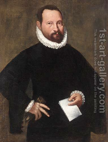 Portrait Of A Gentleman, Three Quarter Length, Wearing Black, Holding A Letter And A Pair Of Gloves by (after) Giovanni Battista Moroni - Reproduction Oil Painting