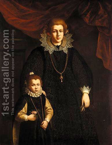Portrait Of A Lady And Her Daughter by (after) Justus Sustermans - Reproduction Oil Painting