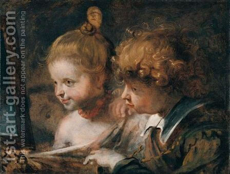 A Double Portrait Of A Young Boy And Girl, Believed To Be Rubens' Children, Albert And Clara Serena by (after) Sir Peter Paul Rubens - Reproduction Oil Painting