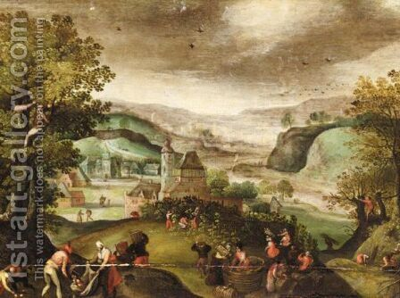 Autumn An Extensive Landscape With Figures Picking Grapes by (after) Abel Grimmer - Reproduction Oil Painting