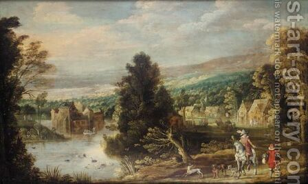 A River Landscape With Huntsmen And Hounds by (after) Joos De Momper - Reproduction Oil Painting