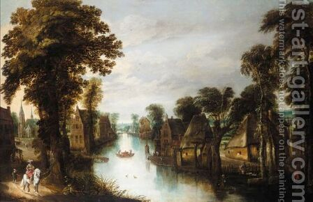 A Village By A River With A Gentleman On Horseback On A Track by (after) Jan The Elder Brueghel - Reproduction Oil Painting