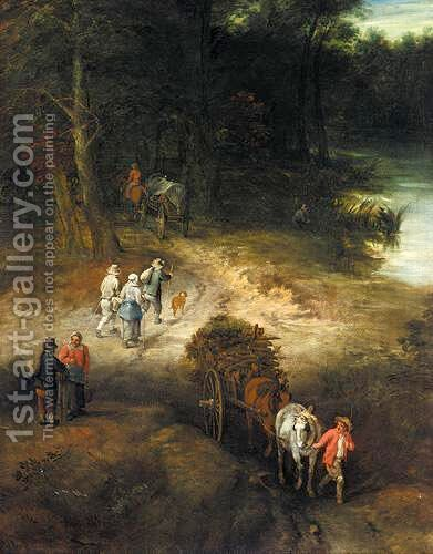 A River Landscape With Waggoners On A Track by (after) Theobald Michau - Reproduction Oil Painting