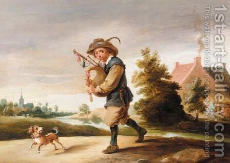 A Landscape With A Boor Playing The Bagpipes, Together With A Dog On A Path by Abraham Teniers - Reproduction Oil Painting