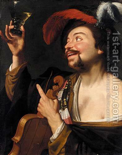A Merry Violinist Holding A Roemer by (after) Honthorst, Gerrit van - Reproduction Oil Painting