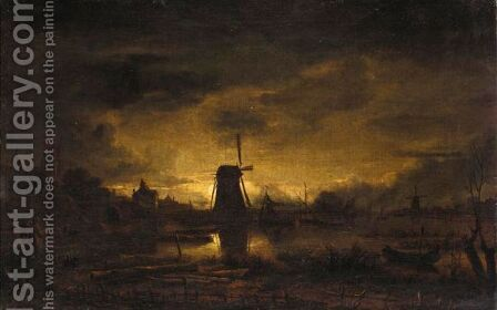 A Moonlit River Landscape With Figures In The Foreground, A Windmill Beyond by (after) Aert Van Der Neer - Reproduction Oil Painting