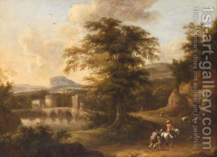 A Southern Landscape With A Horseman And Other Travellers Near A Bridge At Dusk by (after) Frederick De Moucheron - Reproduction Oil Painting