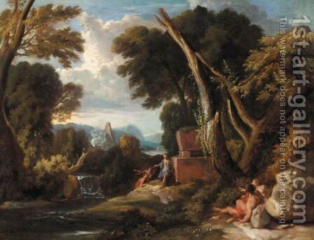 A Classical Landscape With Figures Resting Beside A River by (after) Jan Frans Van Orizzonte (see Bloemen) - Reproduction Oil Painting
