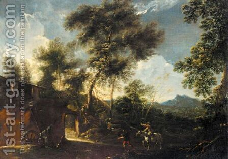 A Landscape With A Man On Horseback And Another Figure Before A House by (after) Bartolomeo Pedon - Reproduction Oil Painting
