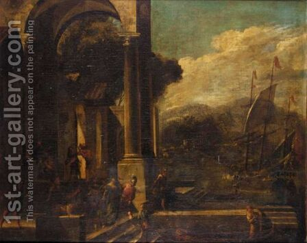 An Architectural Capriccio With The Rape Of Helen by (after) Viviano Codazzi - Reproduction Oil Painting