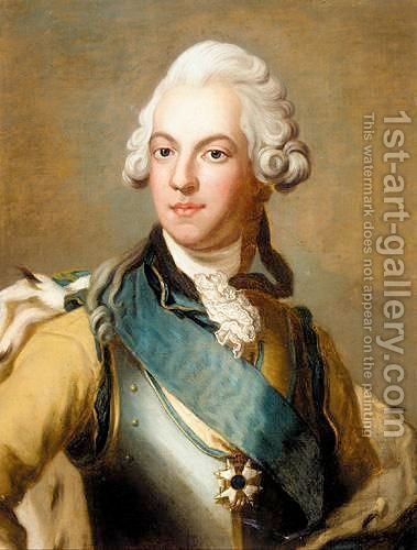 Portrait Of King Gustave III Of Sweden (1746 - 1792) by (after) Alexander Roslin - Reproduction Oil Painting