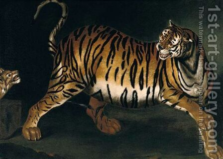 A Tigress And Her Cub by (after) Ferdinand Phillip De Hamilton - Reproduction Oil Painting