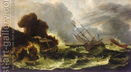Shipping In A Storm Off The Coast by (after) Antonio Marini - Reproduction Oil Painting