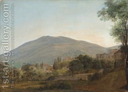An Italianate Landscape With A Town Before A Hill by (after) Jean-Joseph-Xavier Bidauld - Reproduction Oil Painting
