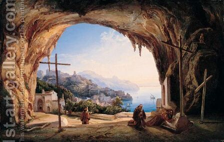 Amalfi, The Convento Dei Cappuccini by (after) Ercole Gigante - Reproduction Oil Painting