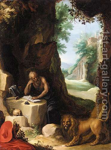 Saint Jerome In A Landscape by (after) Paul Bril - Reproduction Oil Painting