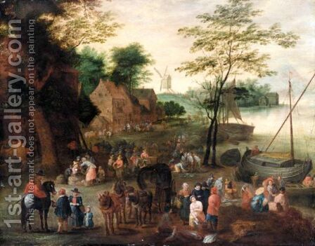 A River Landscape With A Fish Market by (after) Jan The Elder Brueghel - Reproduction Oil Painting