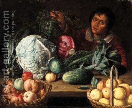 A Still Life With Marrows, Cabbages, An Artichoke, Baskets Of Apples And Lemons, Together With A Boy Holding A Bunch Of Grapes by (after) Willem Eversdijck - Reproduction Oil Painting