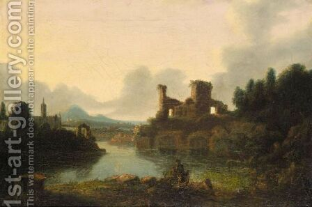 View Of A Lake With Ruins by (after) Richard Wilson - Reproduction Oil Painting