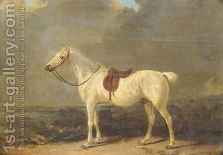A Saddled Grey Hunter In A Landscape by (after) George Nairn - Reproduction Oil Painting