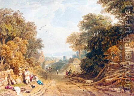 Village Scene, Devonshire by Edmund Dorrell - Reproduction Oil Painting