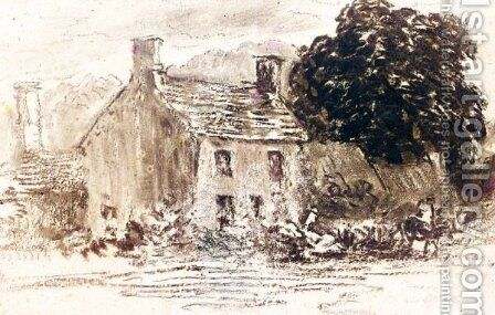 A Cottage Amongst Trees by David Cox - Reproduction Oil Painting