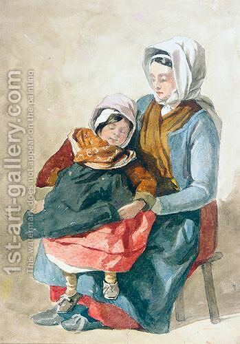 Mother and child by (after) Peter De Wint - Reproduction Oil Painting