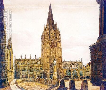 St Mary's Church, Oxford by (after) Peter De Wint - Reproduction Oil Painting