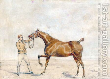 A Horse And A Jockey by Henry Thomas Alken - Reproduction Oil Painting