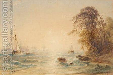 Shipping In A Bay At Sunset by Anthony Vandyke Copley Fielding - Reproduction Oil Painting