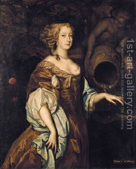 Portrait Of Diana, Countess Of Ailesbury by (after) Sir Peter Lely - Reproduction Oil Painting