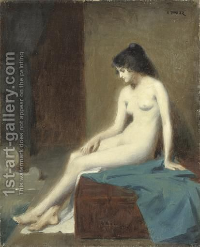 Jeune Femme Nue by Auguste Zwiller - Reproduction Oil Painting