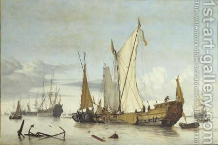Navire Hollandais Sur Une Mer Calme follower Of Willem Van De Velde The Youngera Fleet In Harbour During A Calm by (after) Willem Van De, The Younger Velde - Reproduction Oil Painting