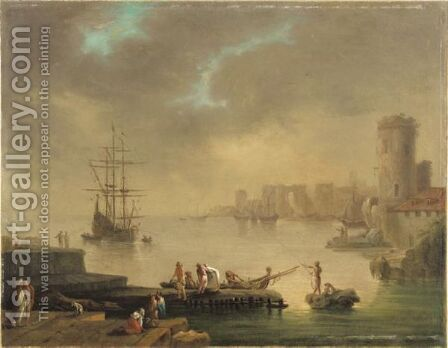 Scenes De Port Mediterraneen Avec Personnages circle Of Charles Francois Grenier Called Lacroix De Marseillefishermen In A Bay By A Mediterranean Coast by (after) Charles Francois Lacroix De Marseille - Reproduction Oil Painting