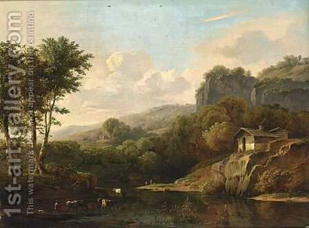 A Mountainous Landscape With Cattle Bathing by Adolf Karel Maximiliaan Engel - Reproduction Oil Painting