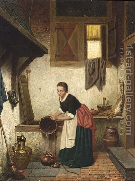 A Woman In An Interior by Charles Joseph Grips - Reproduction Oil Painting
