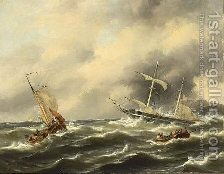 Ships On Rough Seas by Govert Van Emmerik - Reproduction Oil Painting