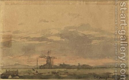 A Landscape With A Windmill, Towards Twilight by Jan Hendrik Weissenbruch - Reproduction Oil Painting